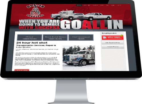 An image of tractor-trailer decorates the Home Page of All In Services' website developed by INM of Edmonton