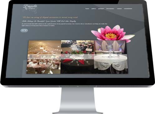 Greys and pinks highlight the attractive Home Page for Dazzle by Dawn