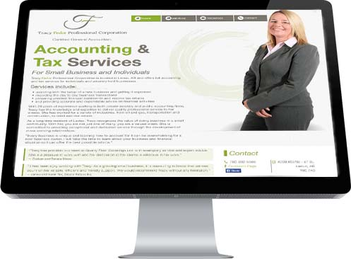 A picture of Tracy Fedor graces the Home Page of her website promoting her accounting business