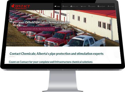 A fleet of matching red service vehicles is the central graphic to the Contact Chemicals Home Page created by Industrial NetMedia of Alberta
