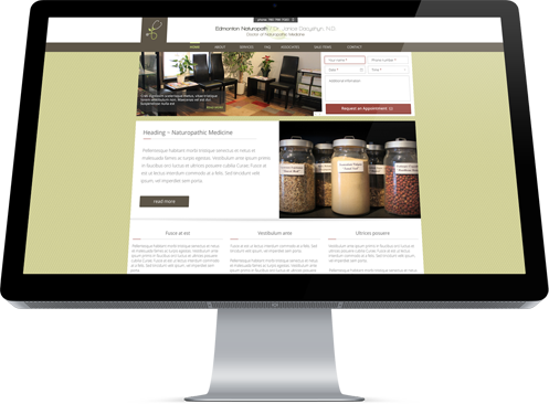 The home page of Edmonton Naturopathy designed by Edmonton-area web developer, Industrial NetMedia