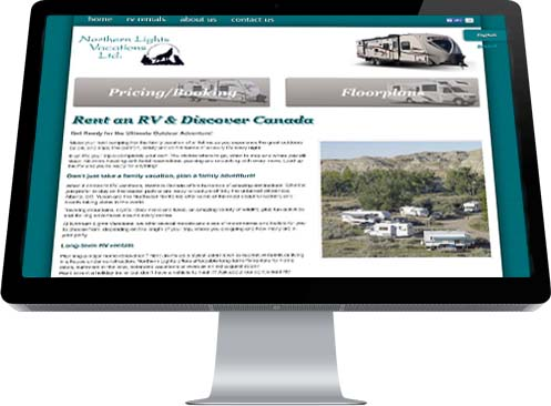 A screen shot of the Home Page for Northern Lights Vacations featuring an image of a number of RV units in some campsites