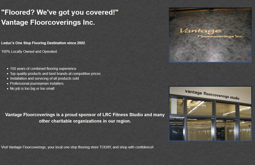 Industrial NetMedia in Leduc created this About page for Vantage Flooring of Leduc