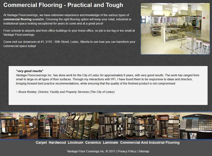 Leduc-based Industrial NetMedia created this Commercial Page for the Vantage Flooring project