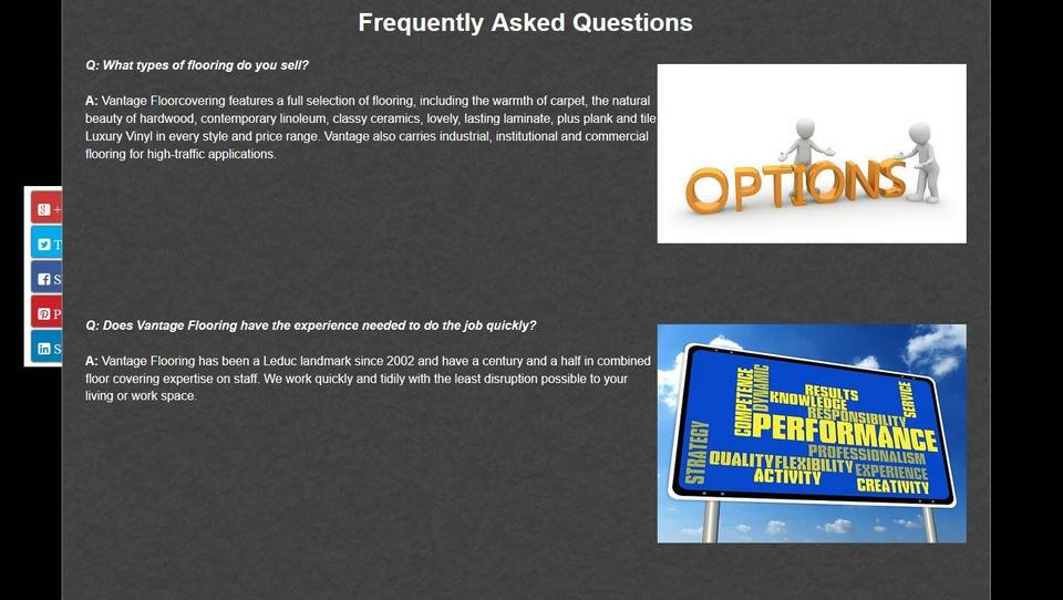 Vantage Flooring's FAQ Page developed by Industrial NetMedia
