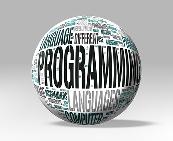 white globe shape with website programming terms