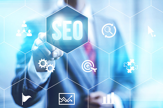 A professional man clicking on the power of search engine optimization