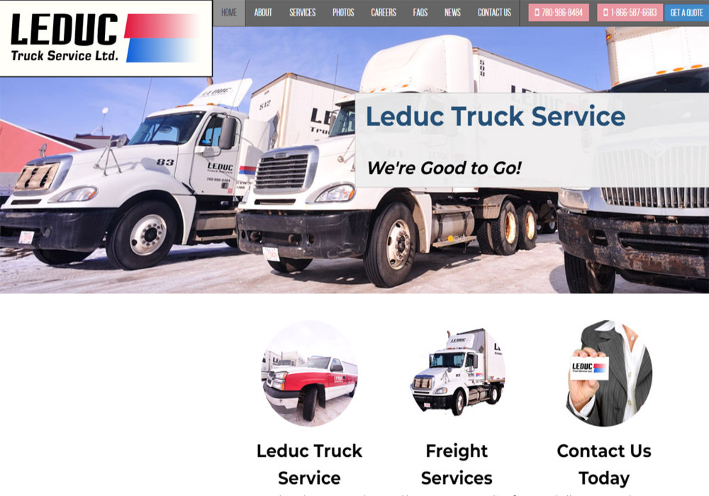 Leduc Truck Services home page - website designed by Industrial NetMedia/Creative101