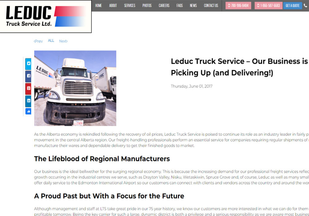 Leduc Truck Services news page - website designed by Industrial NetMedia/Creative101