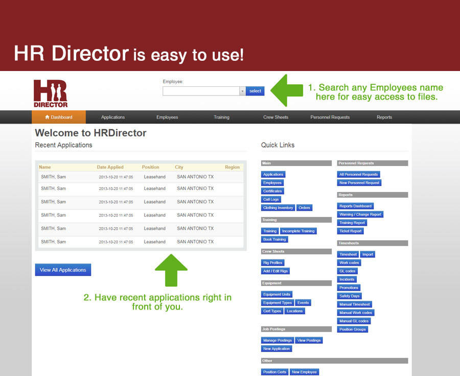 Easily navigate through HR Director