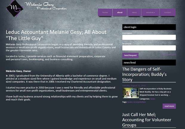 INM of Edmonton developed this About Page for the accounting firm Melanie Gesy Professional Corp of Leduc