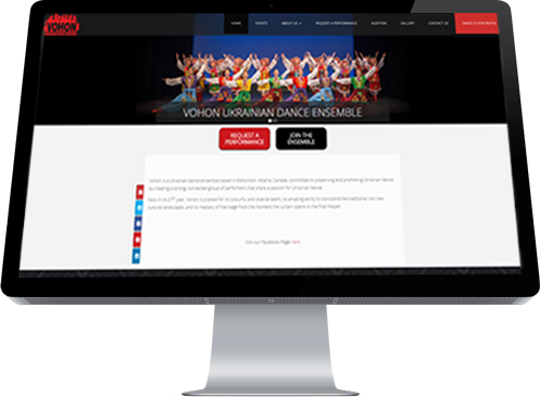 A collection of youthful Edmonton-based Vohon dancers in entrancing costumes is the Home page image selected by web designer, INM of Leduc