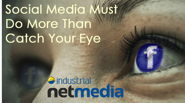 An eyeball with the Facebook logo to promote INM professionalsocial media services.