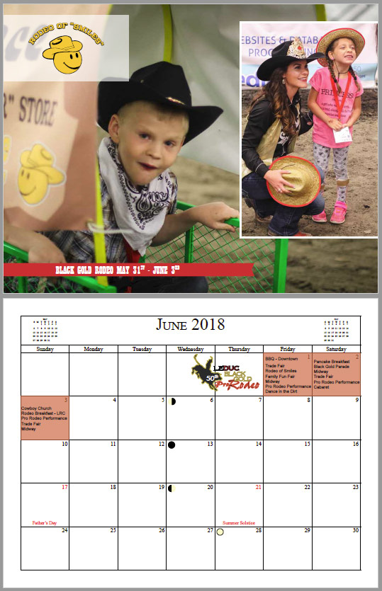 Calendar print and design for the Black Gold Rodeo from INM in Leduc