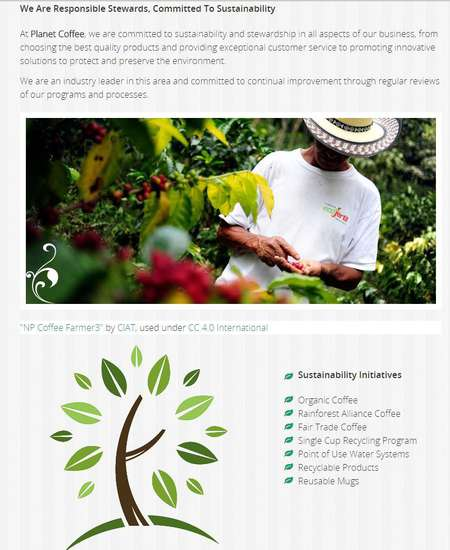 A pic of a hatted coffee farmer was an attractive image chosen for the Planet Coffee website built by Edmonton web developer, INM