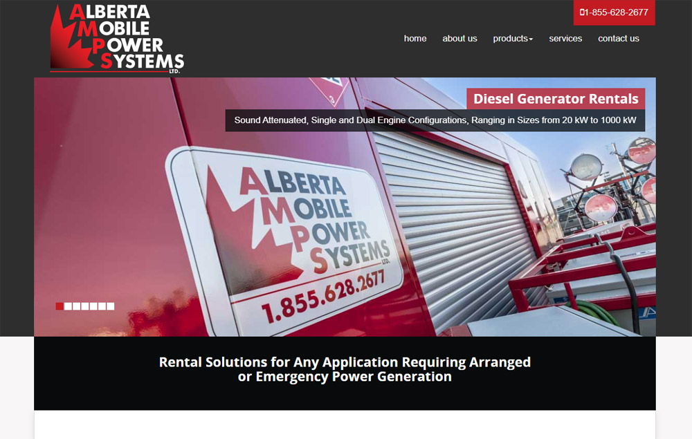 AB Mobile Power home page - website designed by Industrial NetMedia/Creative101