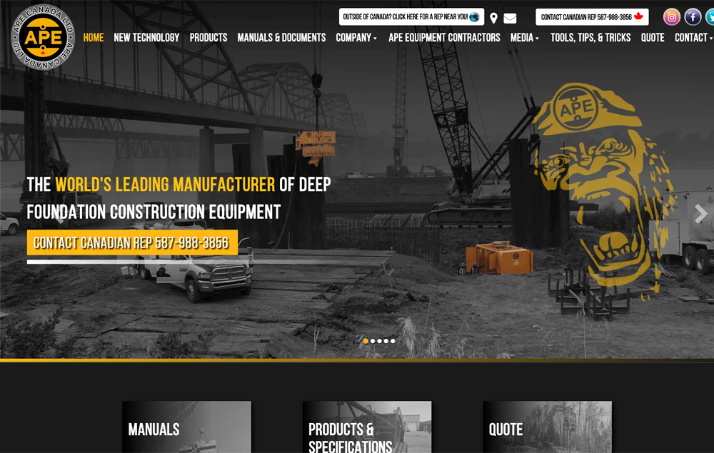 APE website home page - website designed by Industrial NetMedia/Creative101
