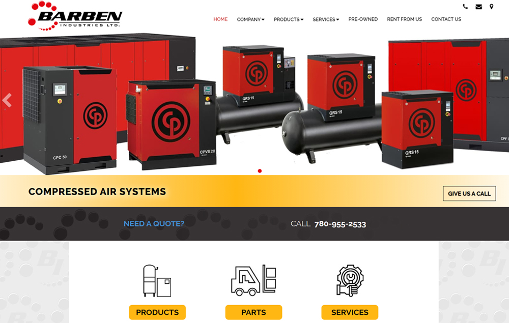 Barben Industries - website designed by Industrial NetMedia/Creative101