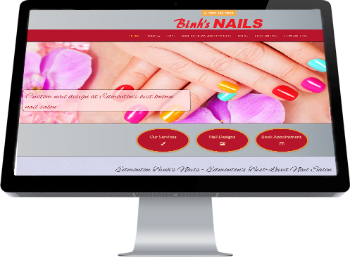 A screenshot of the Home Page for Binh's Nails in East Edmonton created by Industrial NetMedia