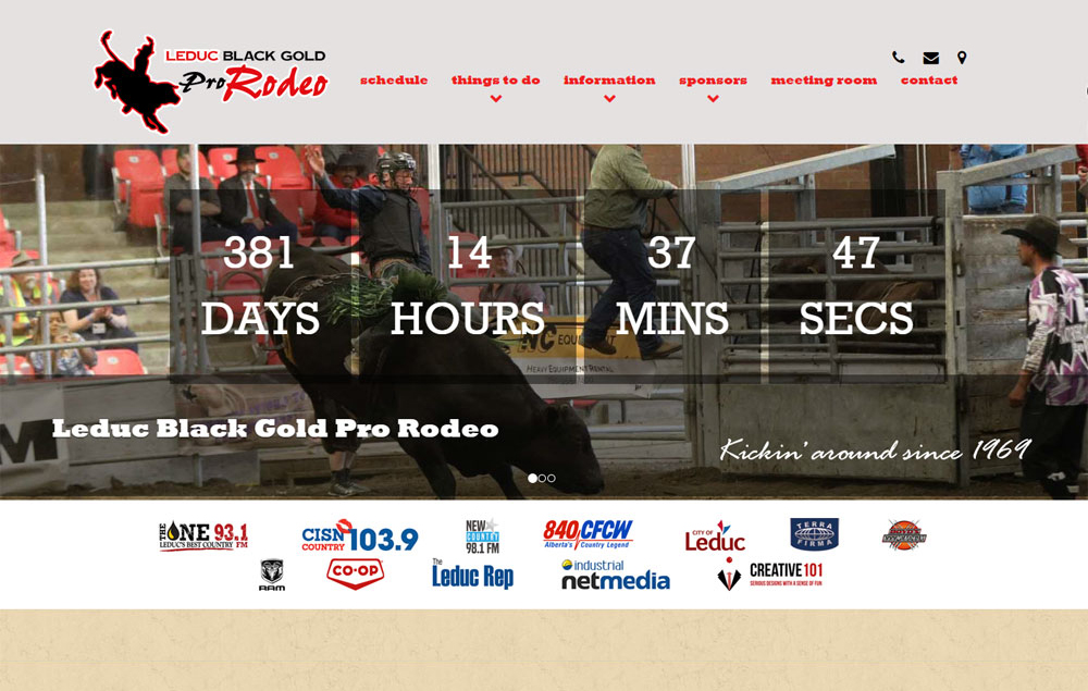 Leduc Black Gold Rodeo website designed by Industrial NetMedia/Creative101