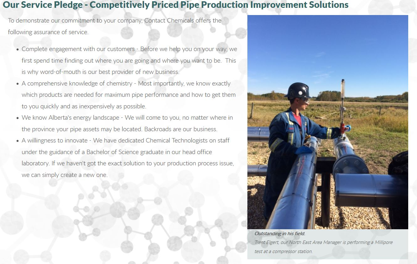 A man in coveralls and hardhat out standing in his field is the striking image selected for the Service Page of the INM of Edmonton-designed website for Contact Chemicals in Wetaskiwin