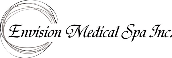 This stark black, grey and white logo was developed for Envision Medical Spa by Industrial NetMedia of Leduc