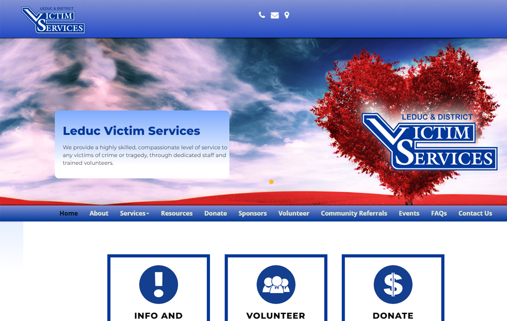 Leduc Victim Services home page - website designed by Industrial NetMedia/Creative101