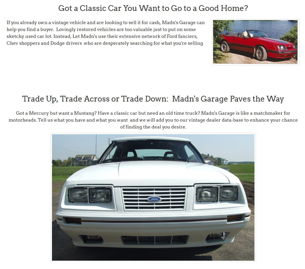 The front-end of an 80's-era Ford Mustang is an eye-grabbing graphic gracing the pages of Madn's Garage website created by Edmonton web design company, INM