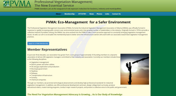 Tight text and an eye-grabbing graphic are the essentials elements to this PVMA About page created by Industrial NetMedia of Leduc