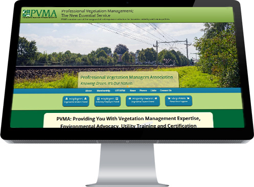 Screen shot of the home page for the Professional Vegetation Managers Association designed by Industrial NetMedia