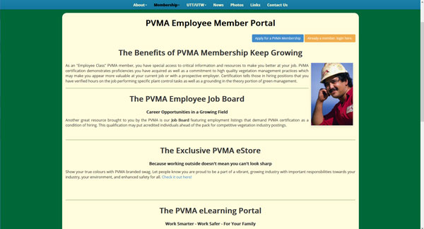 The PVMA Employee Portal web page designed by Industrial NetMedia of Greater Edmonton features information and links of interest
