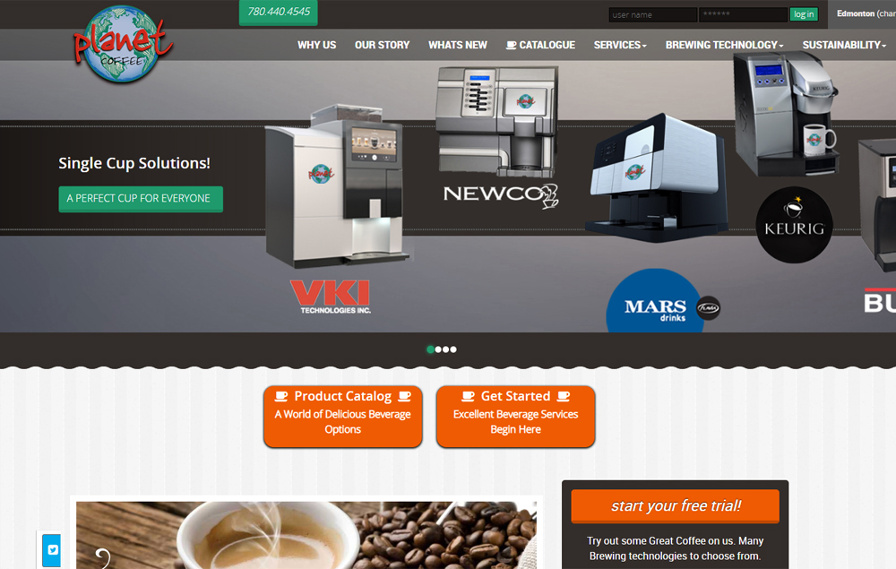 Planet Coffee's home page - website designed by Industrial NetMedia/Creative101