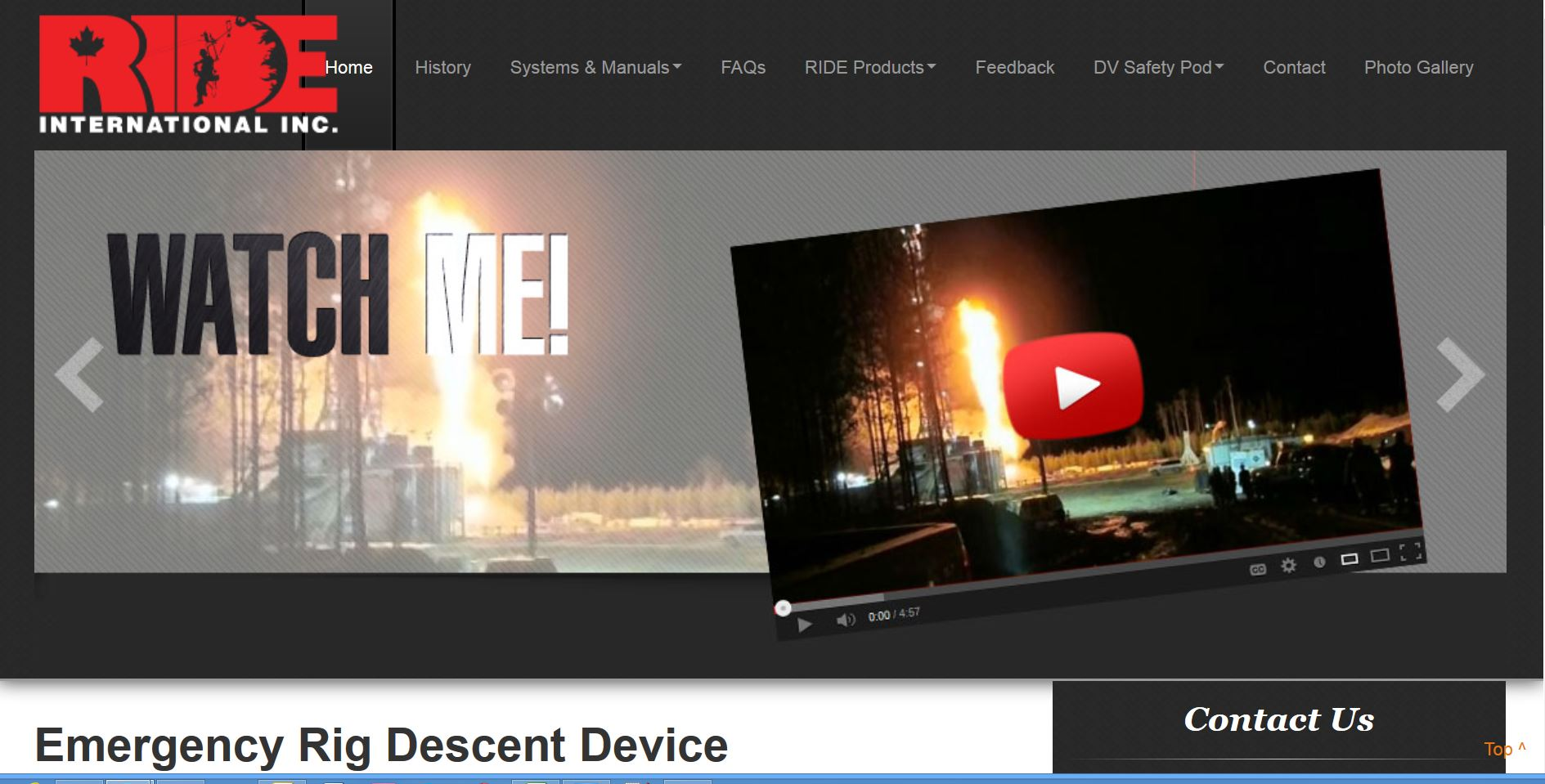 An image of a burning oil well with the tell-tale Youtube video icon is a popular feature on the Industrial NetMedia-created website for Ride Inc of Drayton Valley