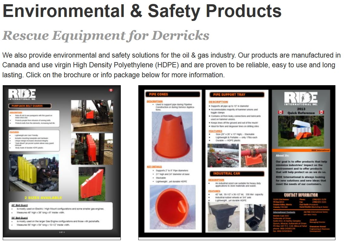 Images of bright orange pipe cones and other rig safety products are the images on the Products Page for Ride Inc of Drayton Valley produced by INM of Edmonton
