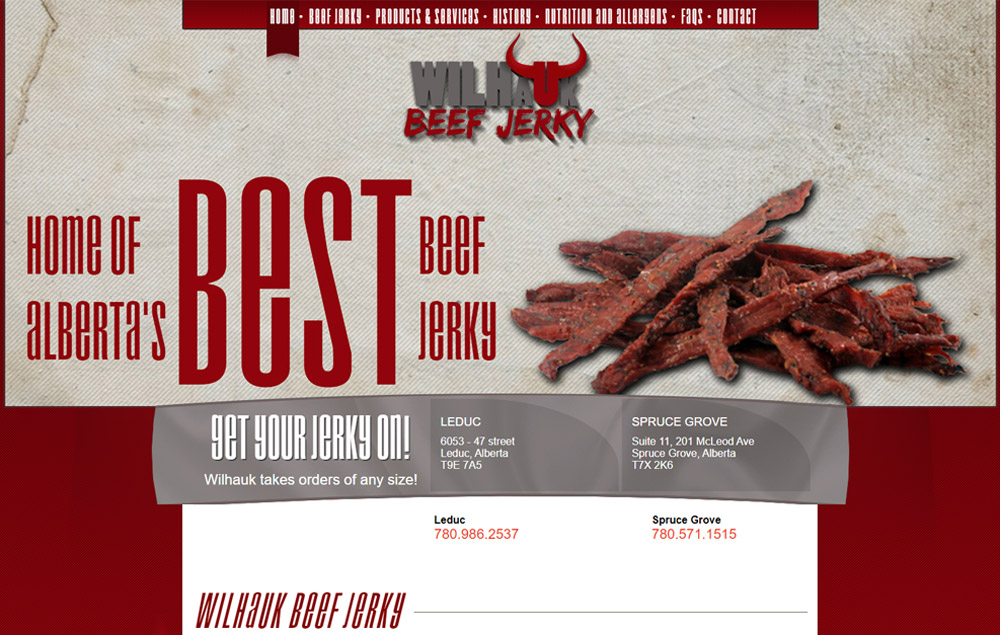 Wilhauk Beef Jerky home page - website designed by Industrial NetMedia/Creative101