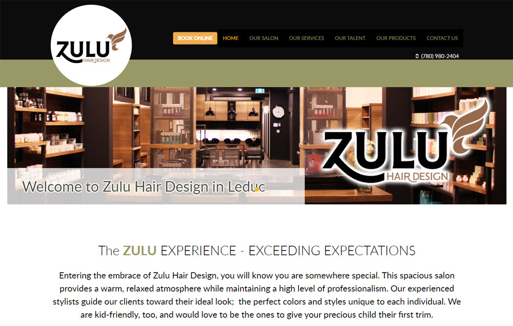 Zulu Hair home page - website designed by Industrial NetMedia/Creative101