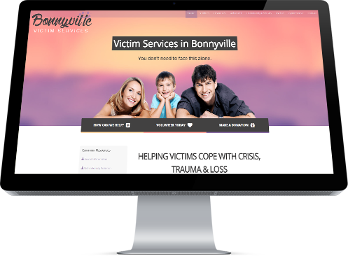The Home Page graphic from BonnyVille VSU featuring a young, smiling family was developed by INM of Edmonton