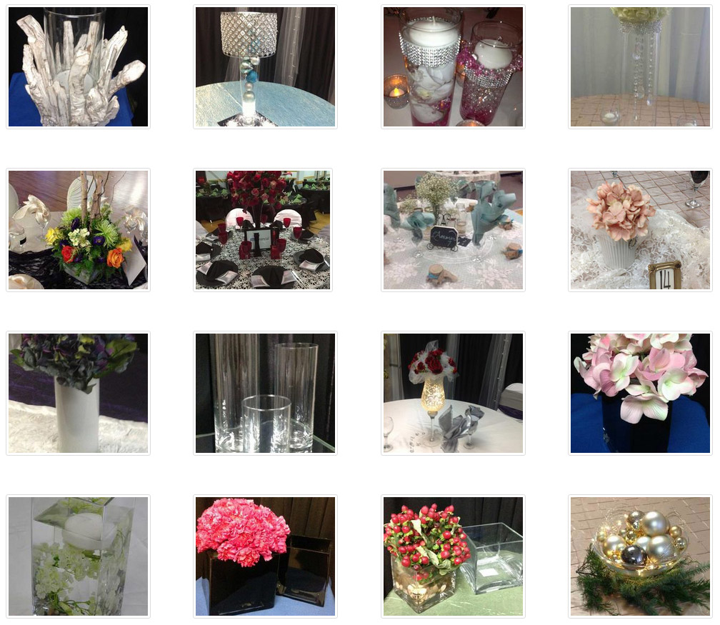 A selection of 16 colorful images showing various centerpiece options available from Dazzle's INM-designed website