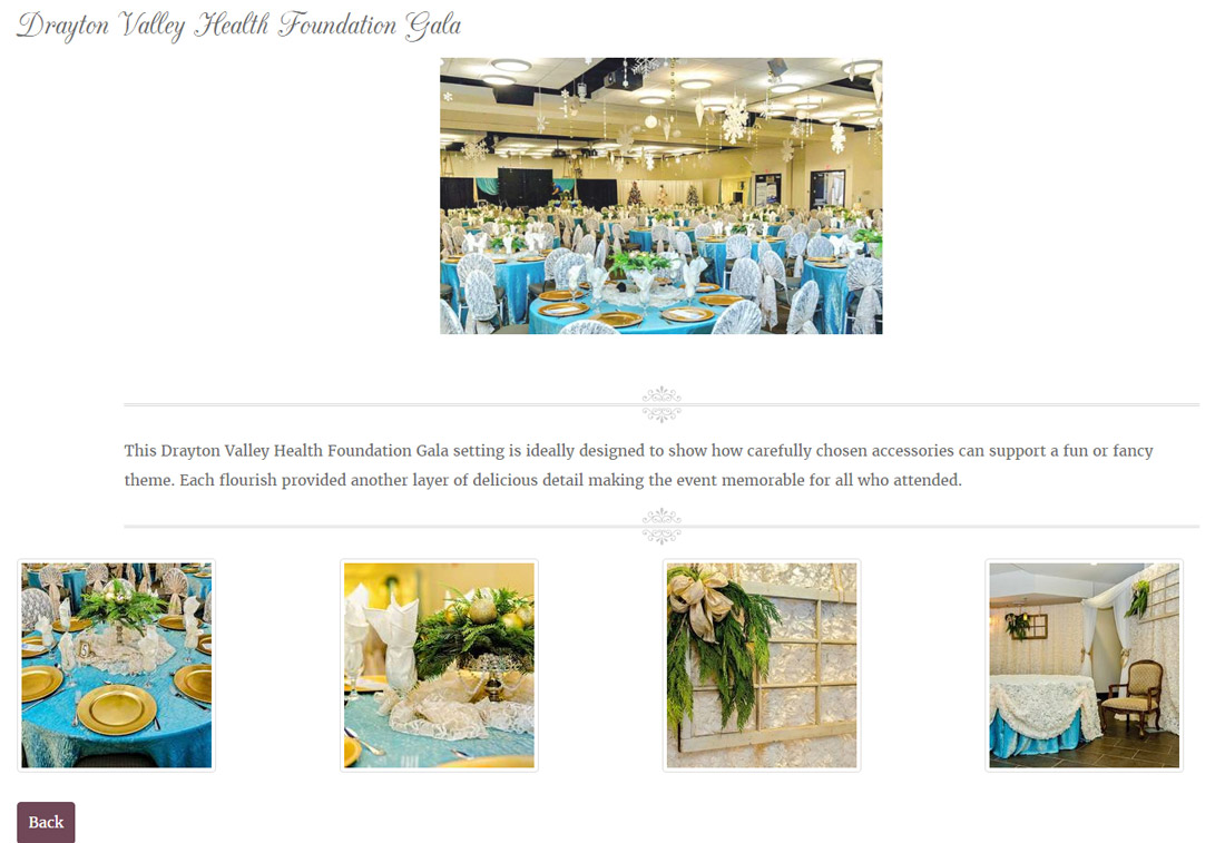 This INM-built gallery features five colorful images of the decorative designs used by Dawn for the Drayton Valley Health Foundation gala