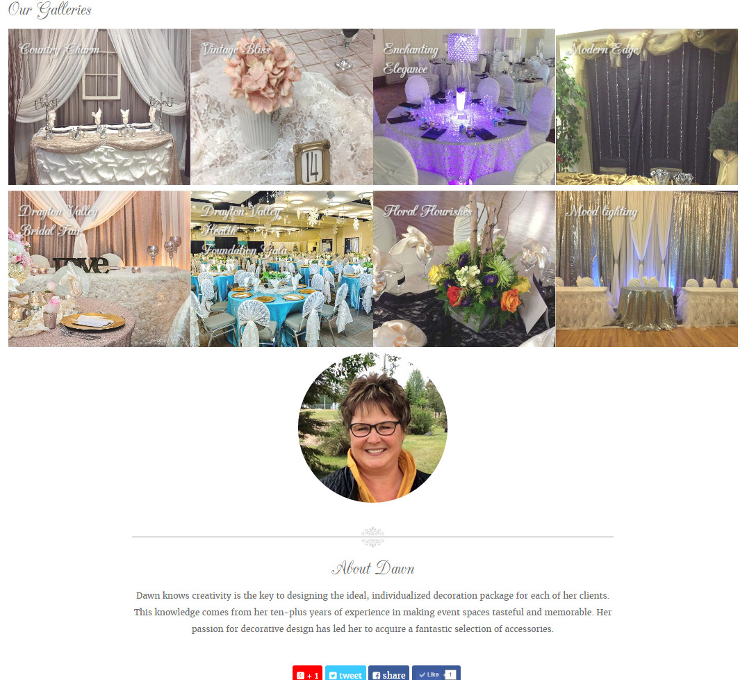 Images of lovely floral and fabric accents dominate Dazzle by Dawn's gallery links developed by Industrial NetMedia