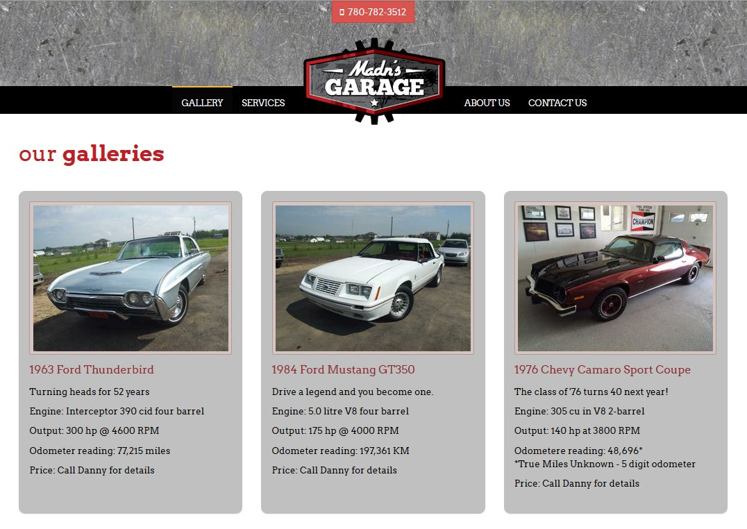 The sharp lines of a '63 T-Bird, an '84 Mustang and a '76 Camaro are showcased in the Madn's Garage photo gallery designed by Industrial NetMedia