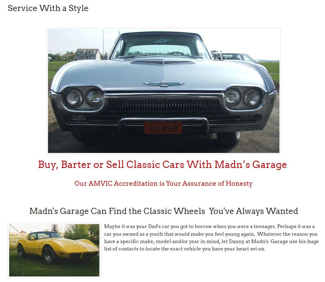An in-your-face image of the front-end of a 1963 Thunderbird graces the Service Page of Madn's website developed by Industrial NetMedia