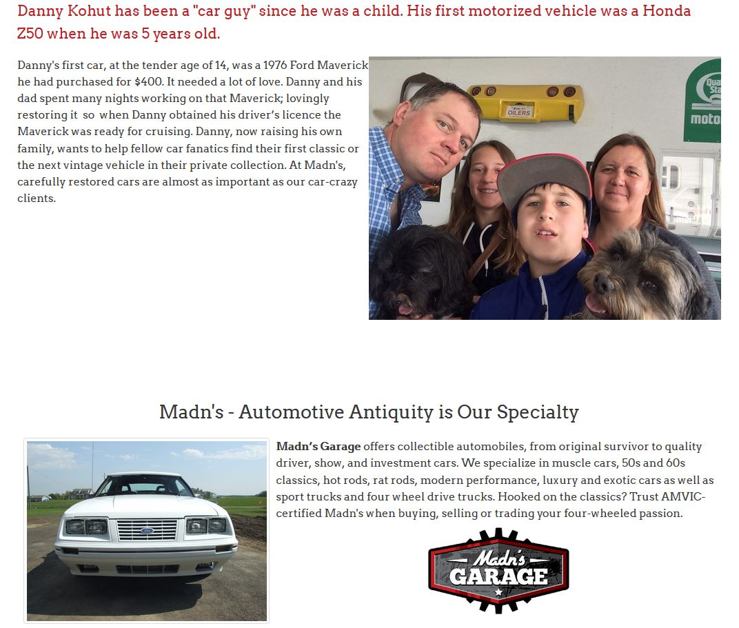 A picture of Madn's owner with his family is a highlight of the About Us page on the site created by Industrial NetMedia