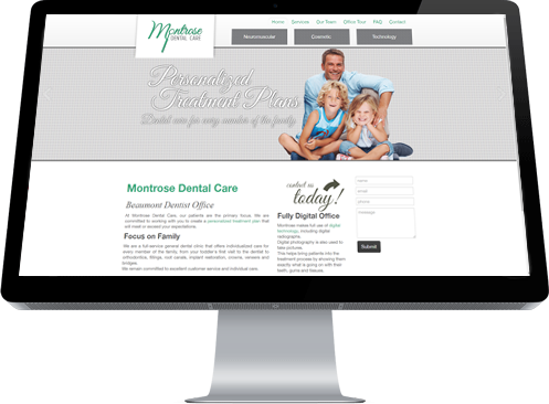 The home page of Montrose Dental Care designed by Industrial NetMedia