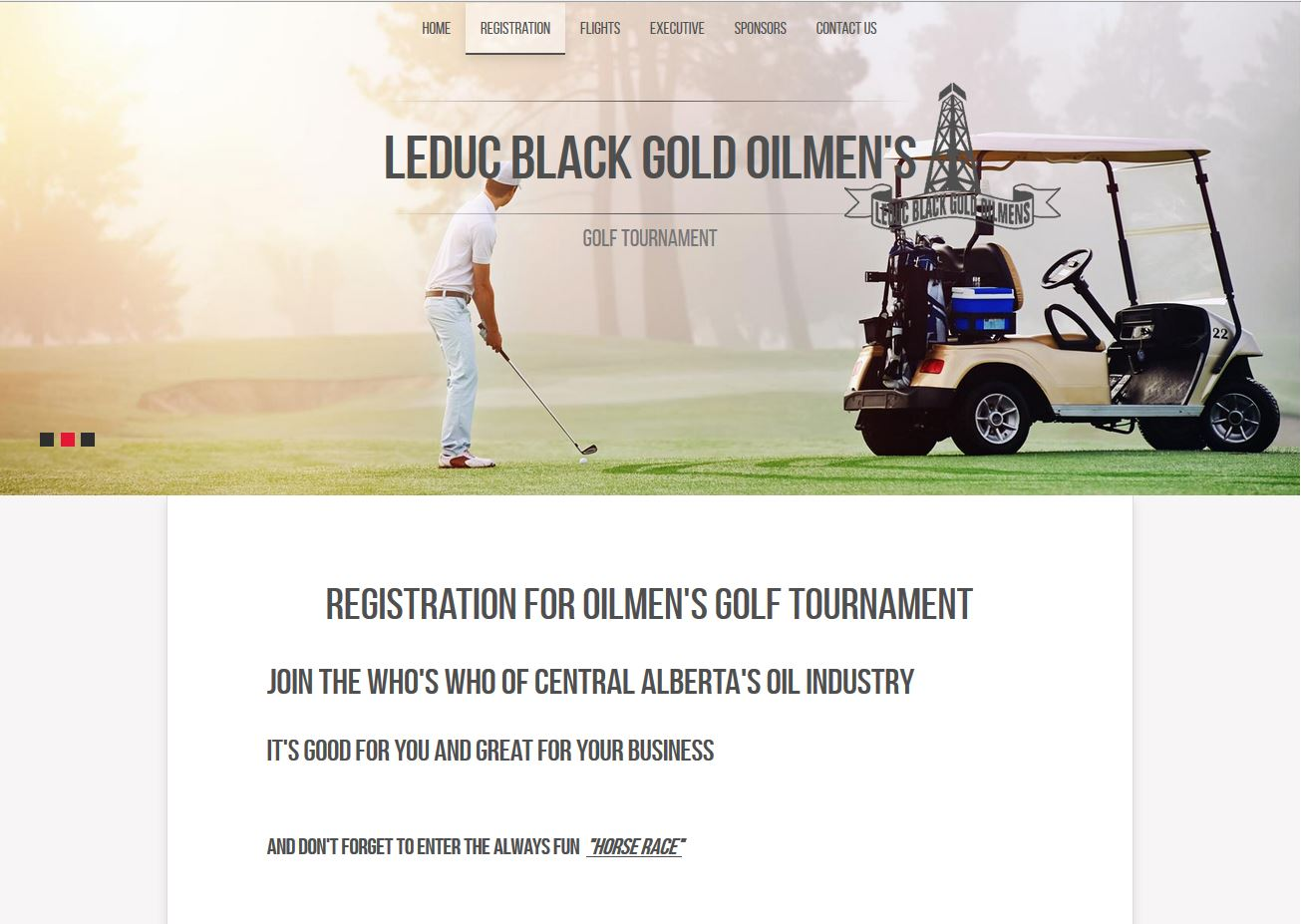 Screen capture of the Leduc Oilmen's Registration page designed by Industrial NetMedia of Edmonton