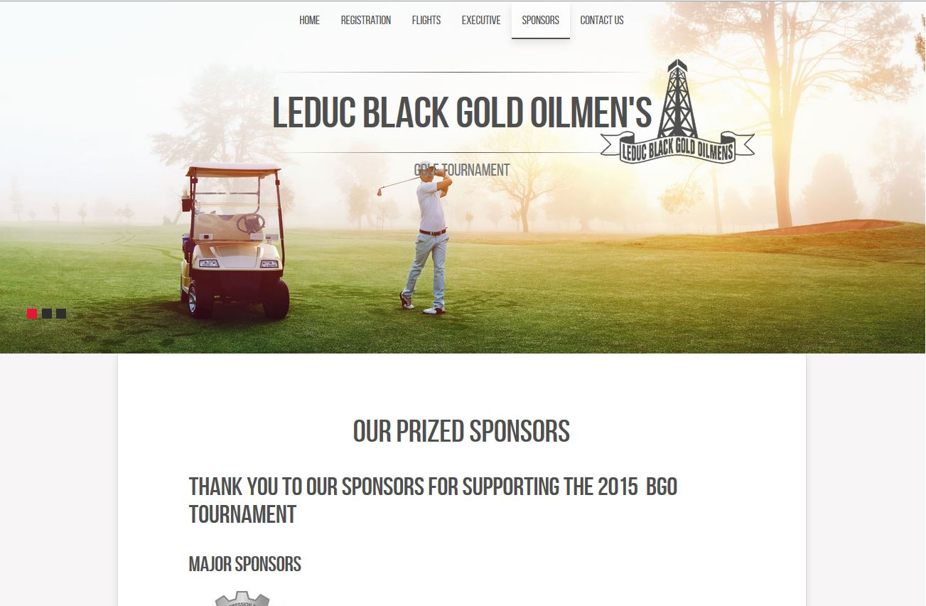 A screen shot of the Black Gold Oilmen's Golf Tournament. Sponsor Page created by Industrial NetMedia