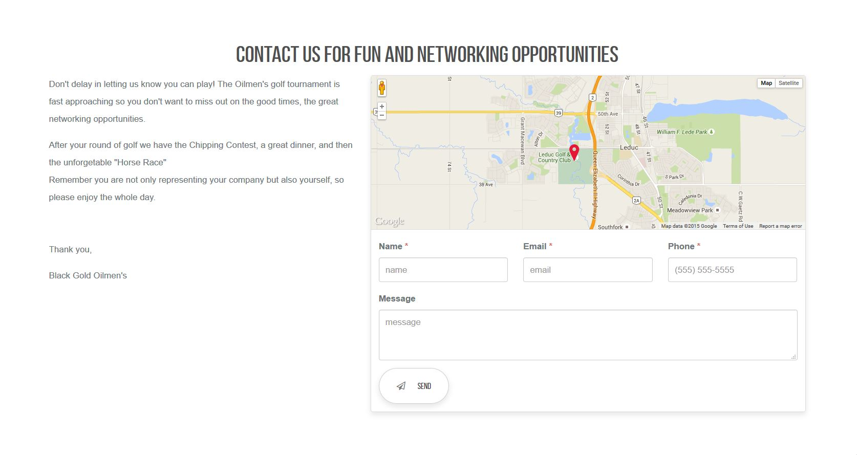 A screen capture of the Black Gold Oilmen's Industrial NetMedia-designed contact page