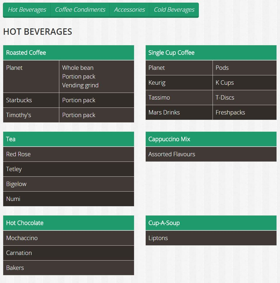 A menu featuring text in green, grey and white highlight hot beverage offerings on the Planet Coffee website built by INM.