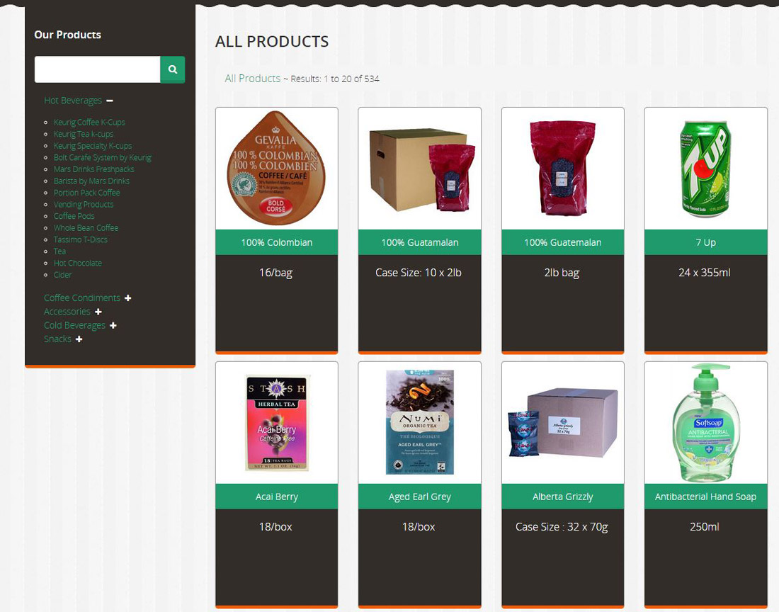 Images of various hot and cold beverage products available in the Planet Coffee Product Catalogue designed by Industrial NetMedia