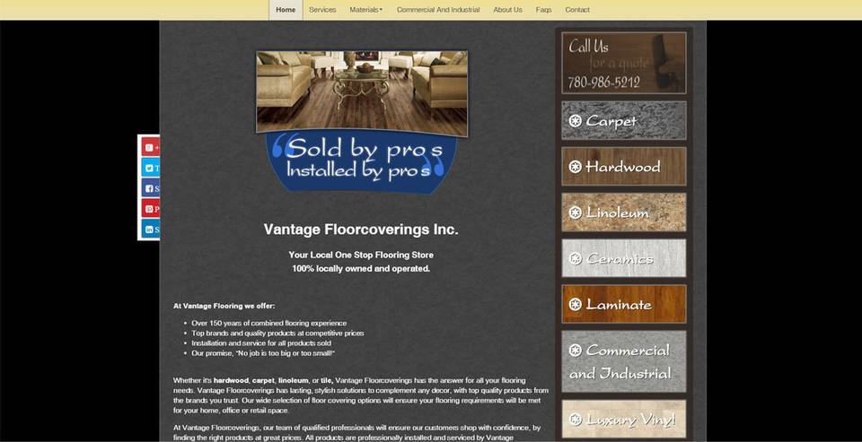 Vantage Flooring's home page designed by INM, features Quicklinks that add dimension to the page.